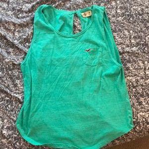 Turquoise hollister tank with cute back cutout!